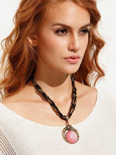 Vintage Braided Gemstone Pendant Necklace