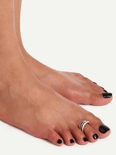 Silver Geometric Foot Ring