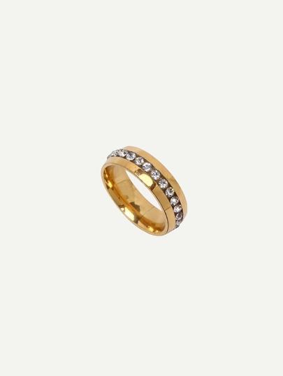 Golden Rhinestone Stainless Steel Ring