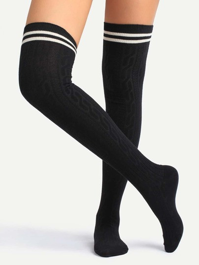 Black Striped Trim Over Knee Socks
