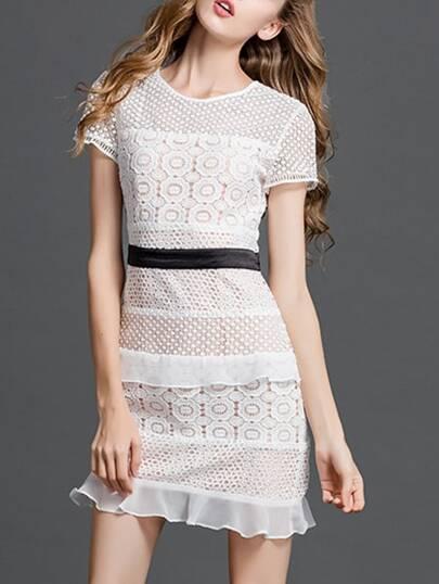 White Crochet Hollow Out Shift Dress