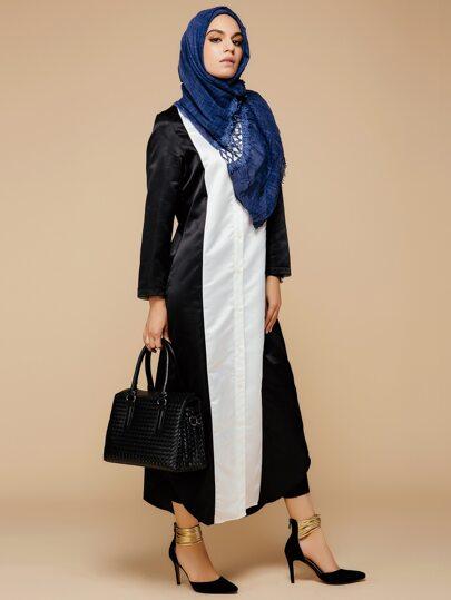 Color Block Button Front Abaya Dress