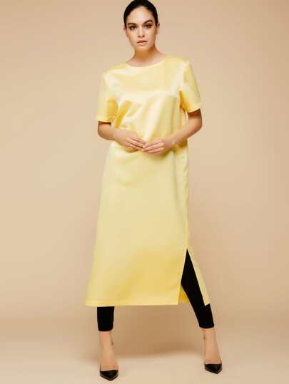 Yellow Slit Side Abaya Dress