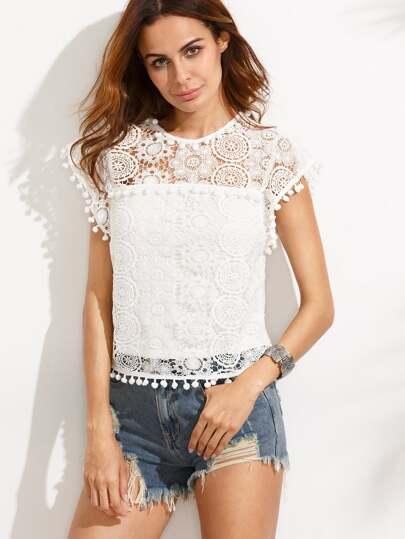 Blusa pompones encaje - blanco