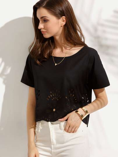 Black Hollow Short Sleeve Blouse