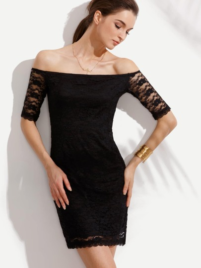 Black Off The Shoulder Lace Bodycon Dress