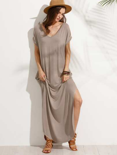 Light Brown Pocket V Neck Split Side Maxi Dress