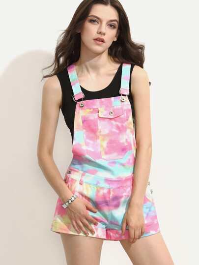 Multicolor Rolled-up Hem Overall Shorts