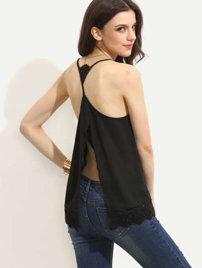 Black Lace Split Back Cami Top