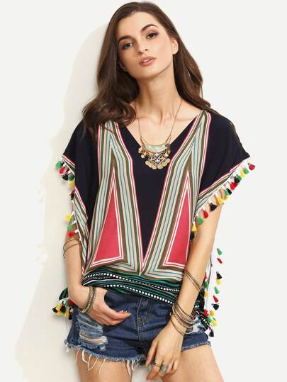 Multicolor Print Tassel Trim Blouse