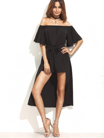 Black Off The Shoulder Jumpsuit With Skirt Overlay