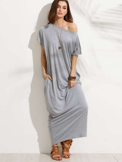 Grey Pocket Short Sleeve Shift Maxi Dress