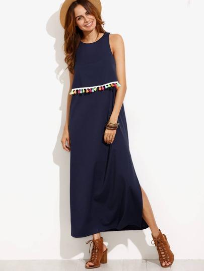 Navy Tassel Trim Sleeveless Split Side Dress