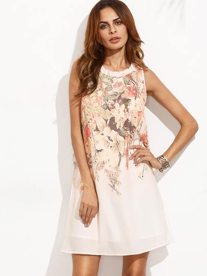 Multicolor Floral Tie Back Sleeveless Dress
