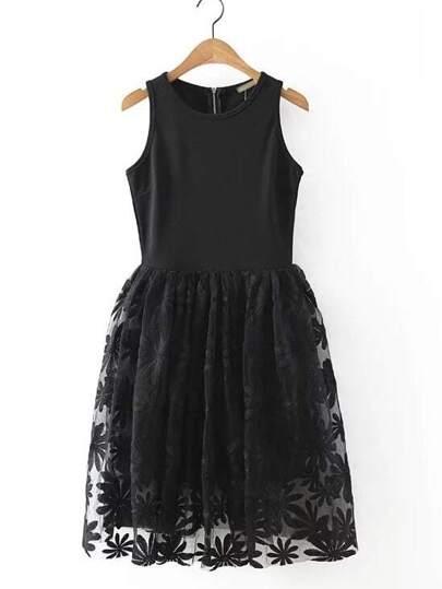Black Sunflower Embroidery Zipper Skater Dress