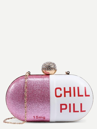 White Pill Shaped Clutch With Rhinestone Ball Closure