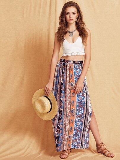 Paisley Print Split Front Skirt