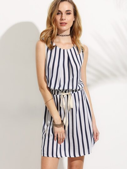 Navy Vertical Striped Drawstring Dress