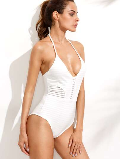 White Ribbed Halter Neck One Piece Swimwear