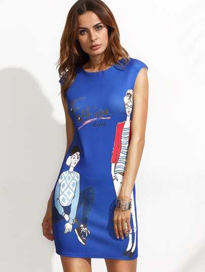 Character Print Zipper Sheath Dress