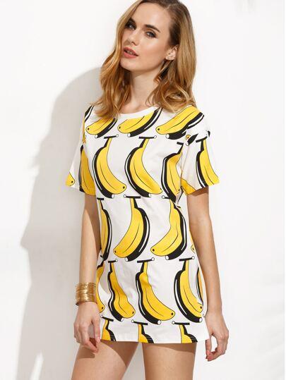 White Banana Print Drop Shoulder Dress