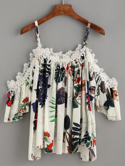 White Tropical Print Crochet Applique Cold Shoulder Top