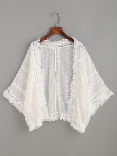 White Fringe Crochet Trim Embroidered Kimono