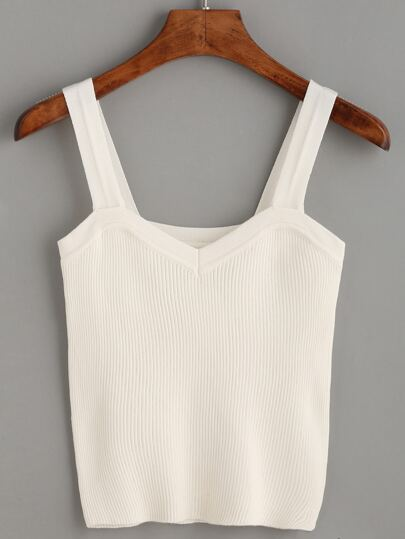 White Wide Strap Ribbed Top