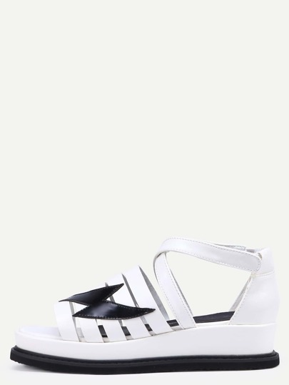 Scarpe Cuneo Velcro Toe Aperto Cinghietti Incrociati - Bianco
