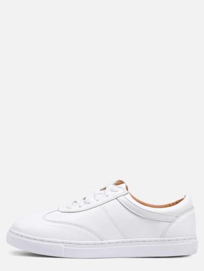 Tennis à lacets bout rond - blanc