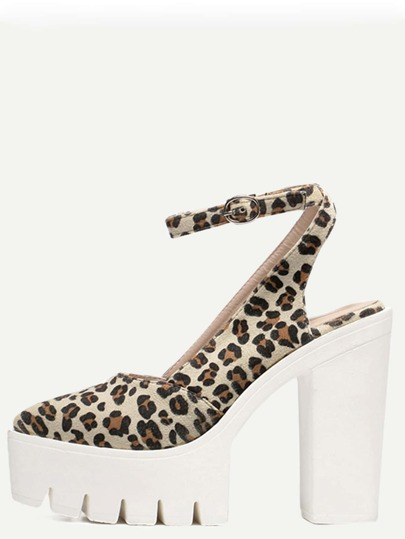 Leopard Almond Toe Buckle Platform Chunky Pumps