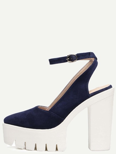Navy Almond Toe Buckle Platform Chunky Pumps