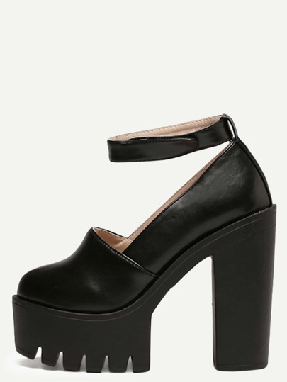 Black Round Toe Platform Chunky Pumps