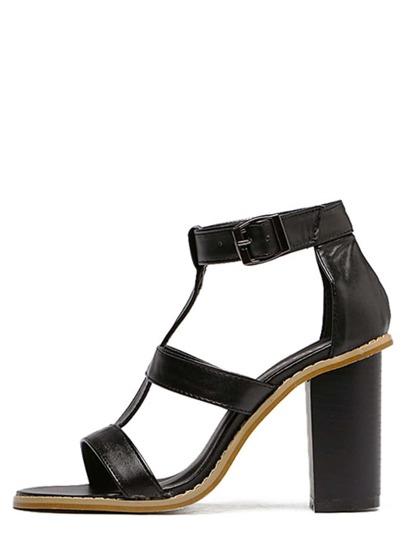 Sandalias de tacón punta abierta con tira T - negro