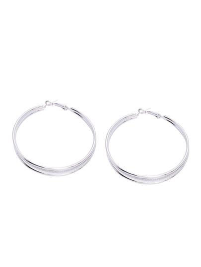 Silver Multilayer Matte Hoop Earrings