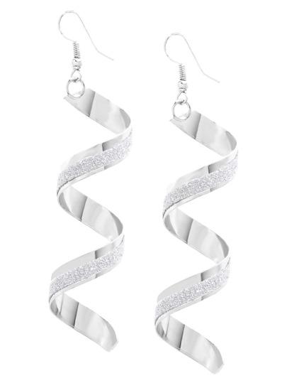 Silver Twisted Matte Drop Earrings