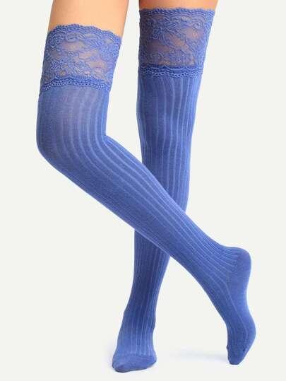 Blue Non-slip Lace Over Knee Socks