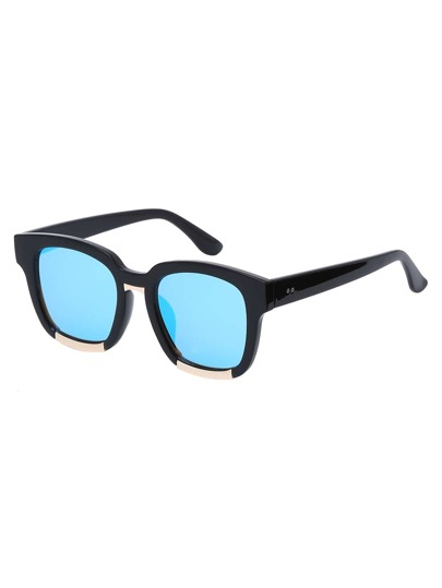 Vintage Square Frame Mirrored Sunglasses