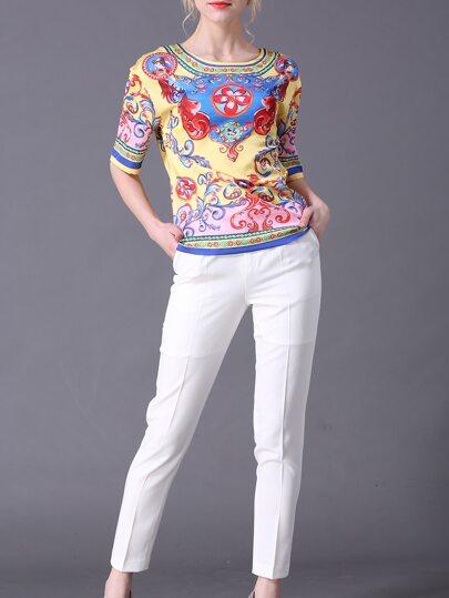 Top vintage estampado con pantalones bolsillos - multicolor