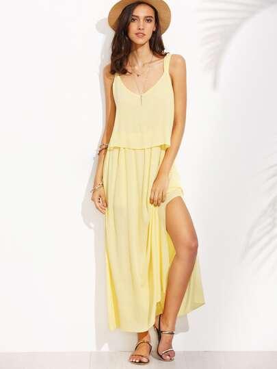 Yellow Sleeveless V Neck Bow Dress