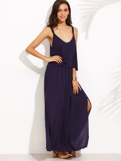 Purple Sleeveless V Neck Bow Dress