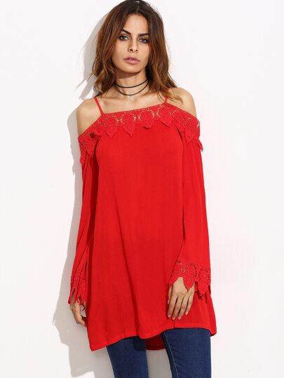 Red Cold Shoulder Crochet Shift Dress