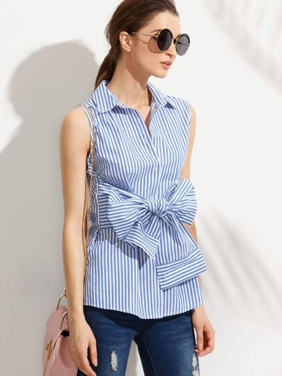 Blue Striped Bow Sleeveless Turndown Blouse