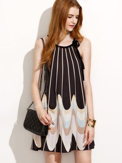 Multicolor Print Sleeveless A-line Dress