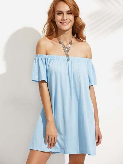 Blue Off The Shoulder Shift Dress