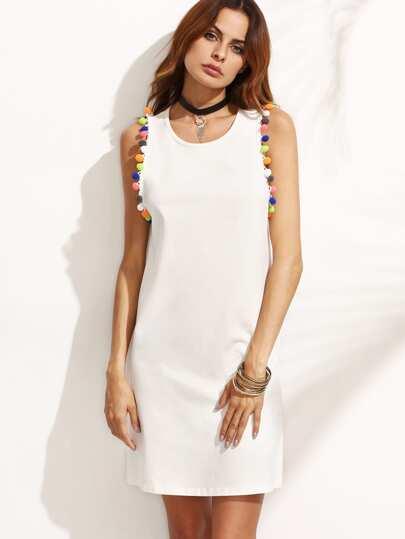 White Pompom Trim Sleeveless Dress