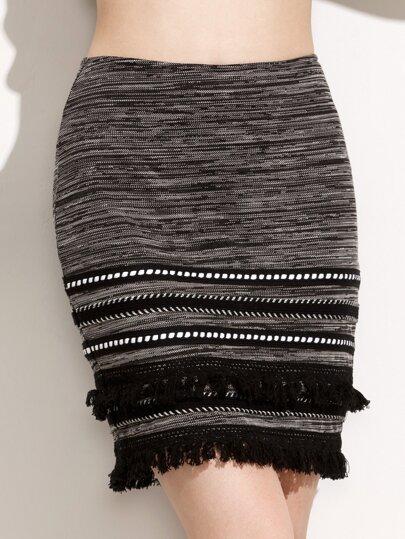Skinny Zipper Back Fringe Trim Skirt