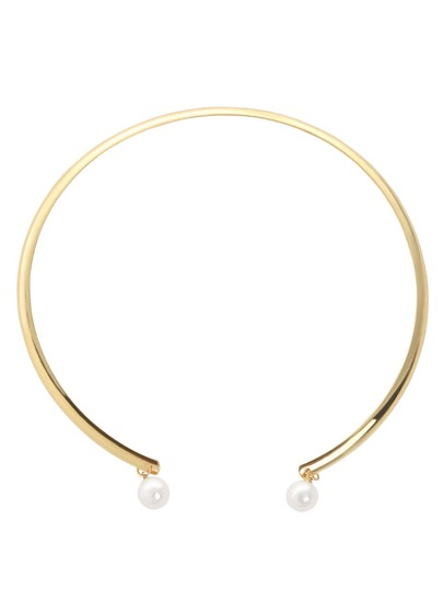 Golden Pearl Open Cuff Necklace