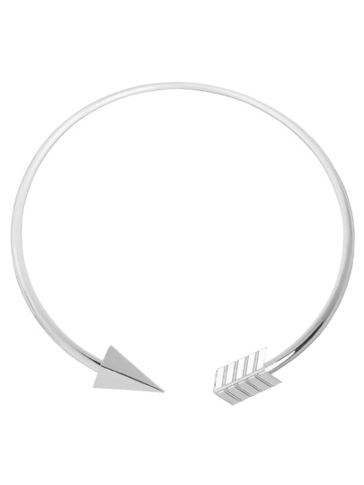 Silver Arrow-shaped Open Cuff Necklace