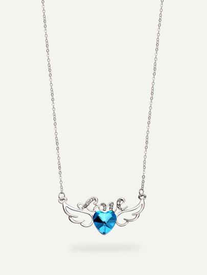 Rhinestone Wing-shaped Pendant Necklace